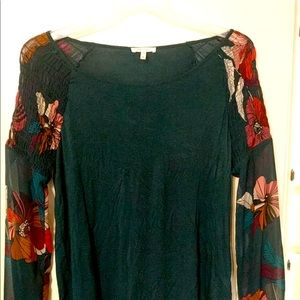 Maurices blouse with flowery sleeves